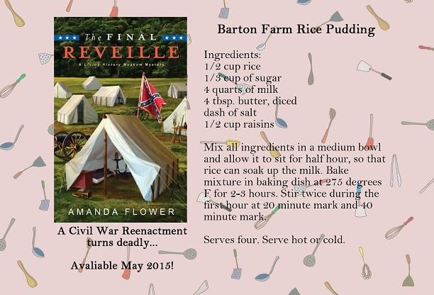 The Final Reveille released this month, and it's my first mystery in the Living History Museum Mystery Series. The series is about a fictional living history museum and farm in Ohio. The first novel takes place during a Civil War reenactment on the Farm. Unfortunately, one of the attendees to the reenactment is found dead, and now single mom and museum director, Kelsey Cambridge, has to find the killer before her museum is ruined by the scandal.